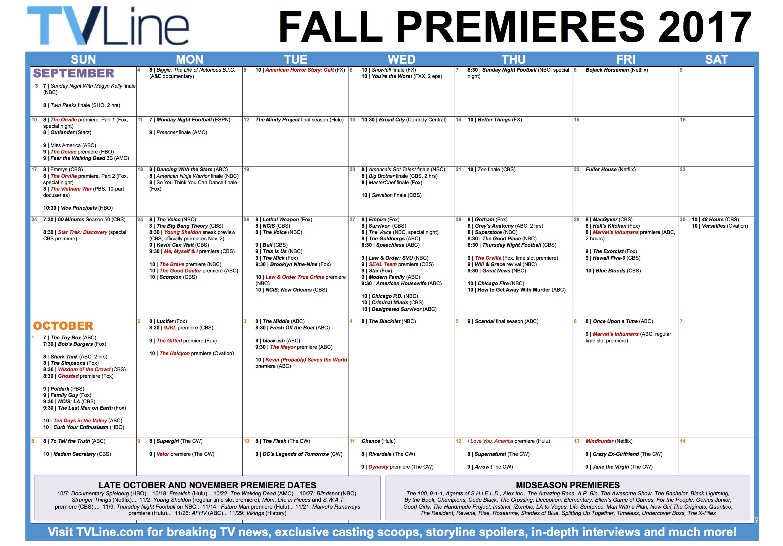 fall premier line ups