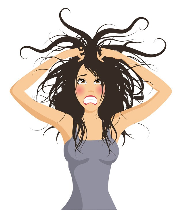 Frustrated pulling hair out crazy hair stressed